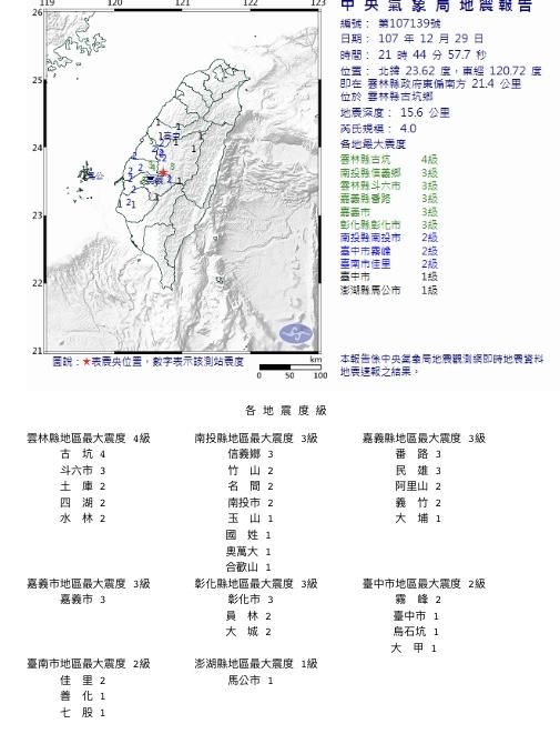 雲林規模4地震。圖/取自氣象局