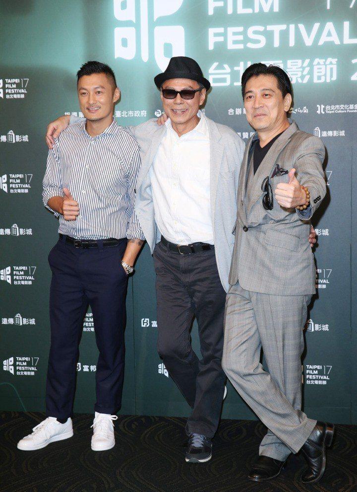 林嶺東(中)曾帶電影「迷城」來台宣傳,左為余文樂,右為高捷。圖/聯合報系資料照