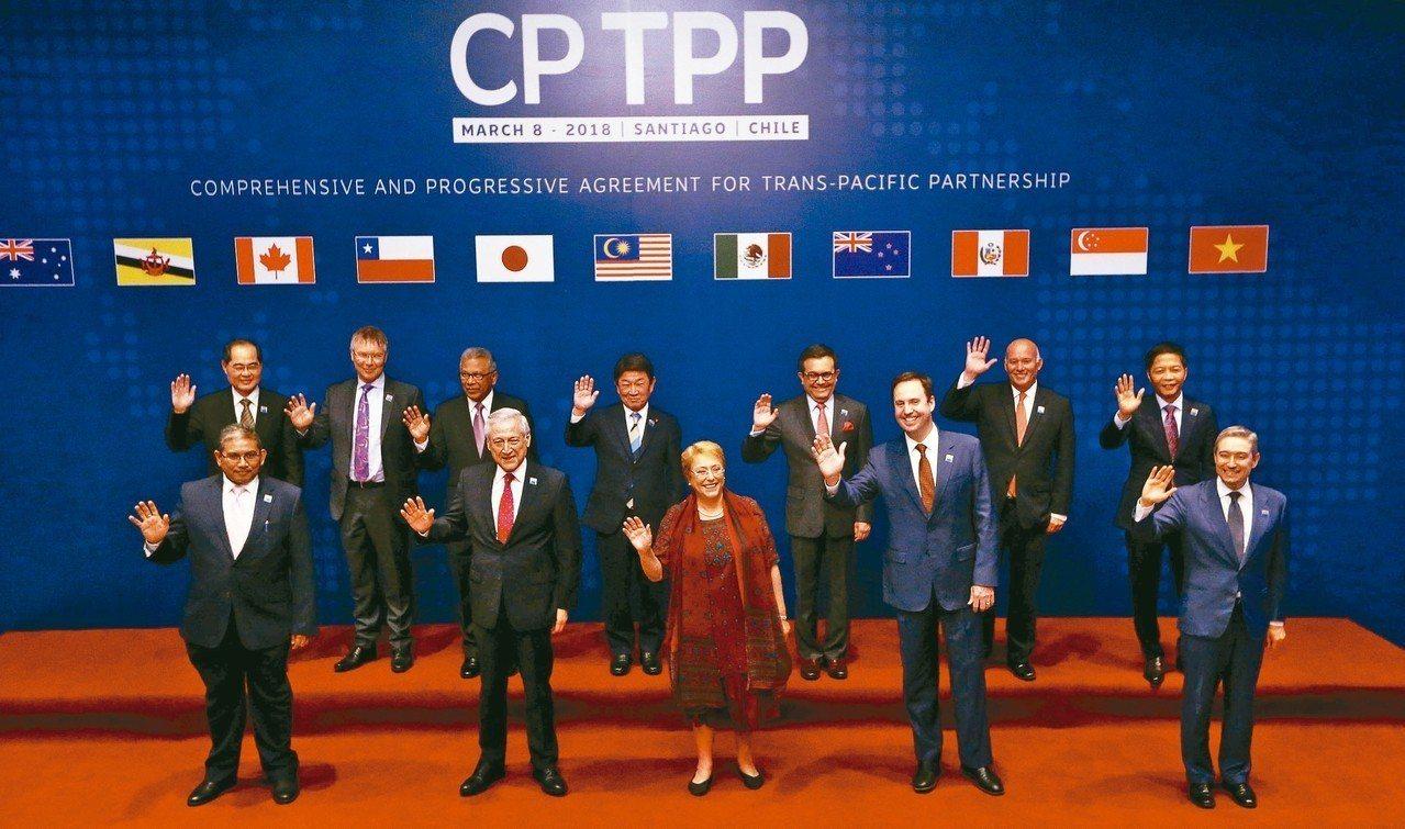 CPTPP的11個簽約國今年3月8日在智利聖地牙哥舉行正式簽署儀式。 路透