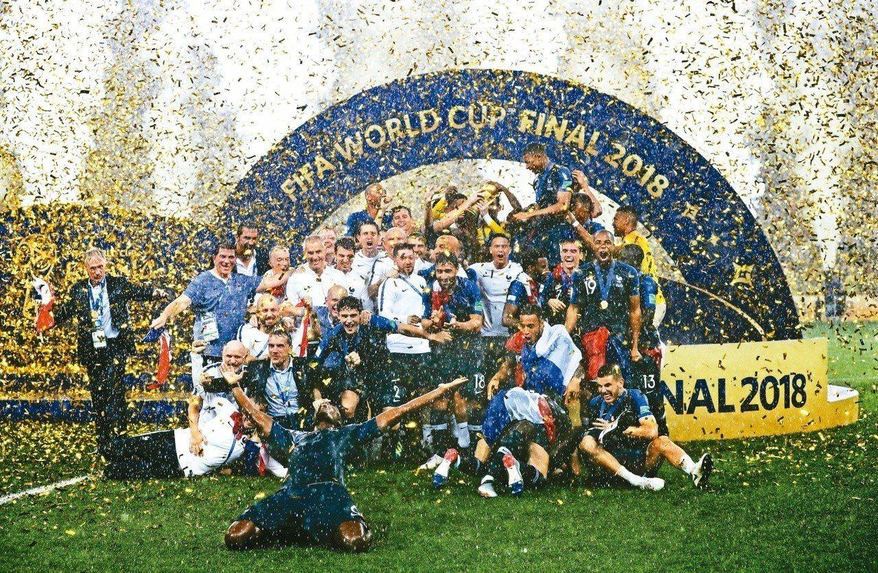俄羅斯世足賽,法國捧隊史第二冠。 報系資料照(美聯社)