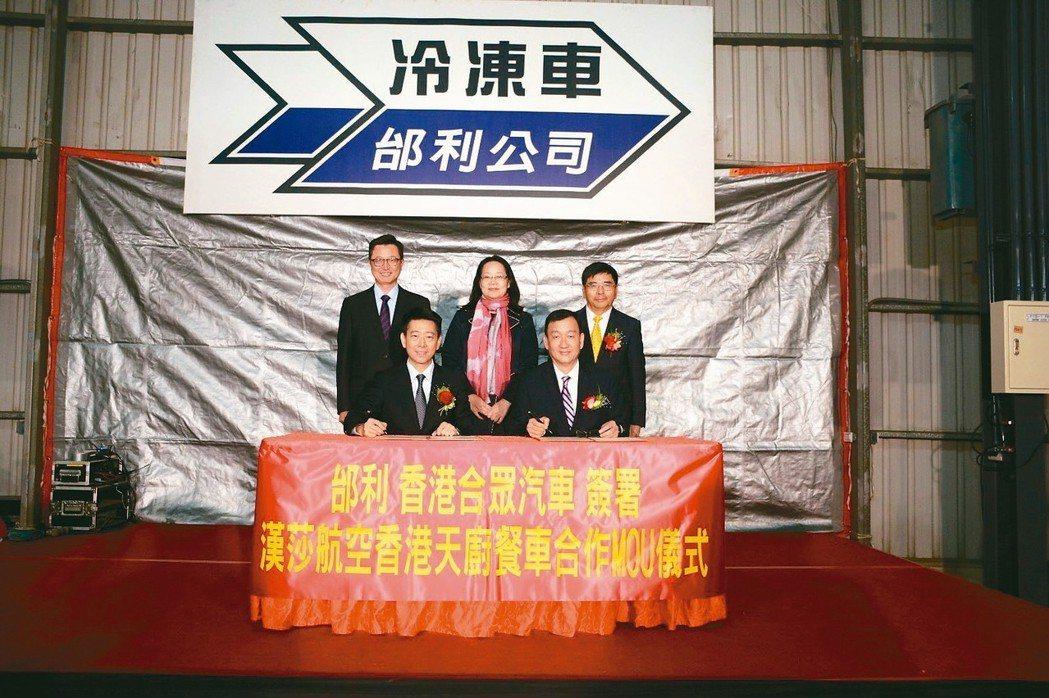 邰利集團董事長林建智(前右)、香港合眾汽車總經理蔡振豪(前左)共同簽訂合作備忘錄...