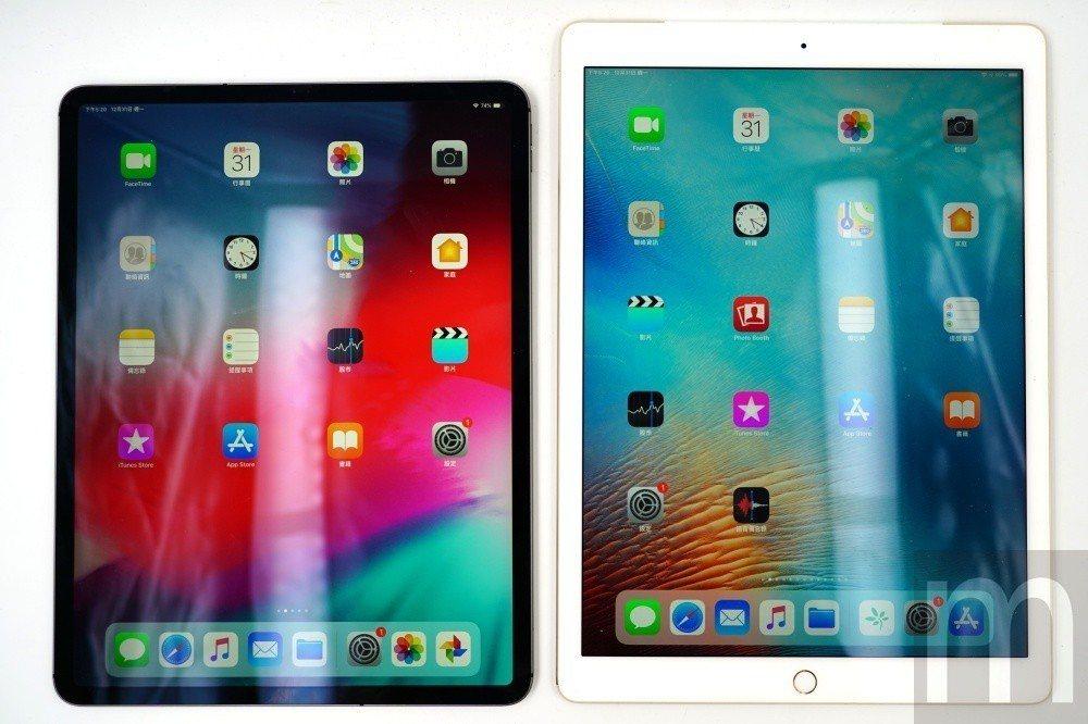 左邊為2018年款12.9吋iPad Pro,右側則為2016年款12.9吋iP...