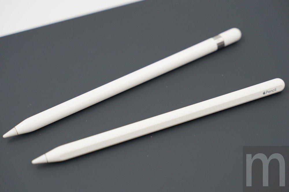 新舊款Apple Pencil外觀比較,下方為Apple Pencil 2,功能...