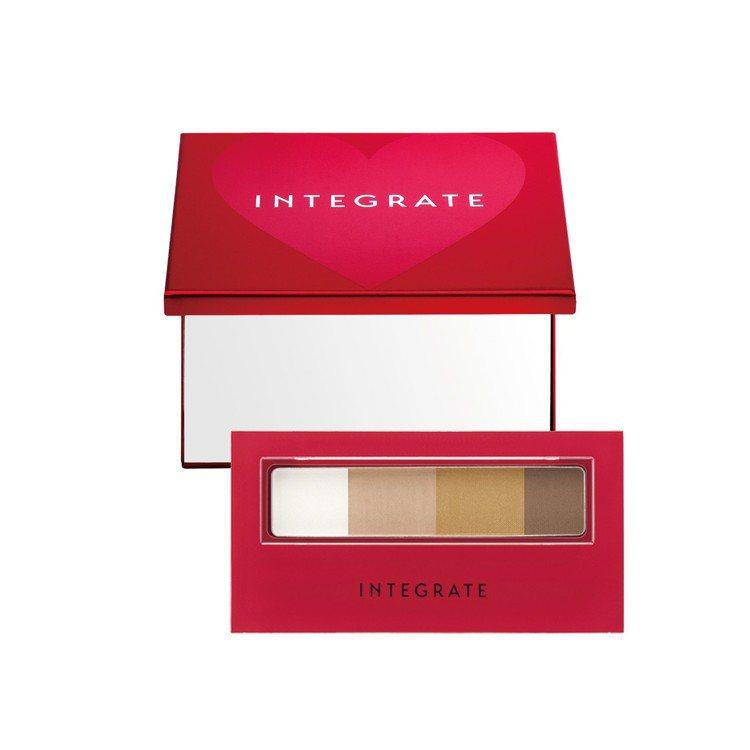INTEGRATE櫻特芮極緻立體4色眉粉盒小紅鏡限定組,售價290元。圖/INT...