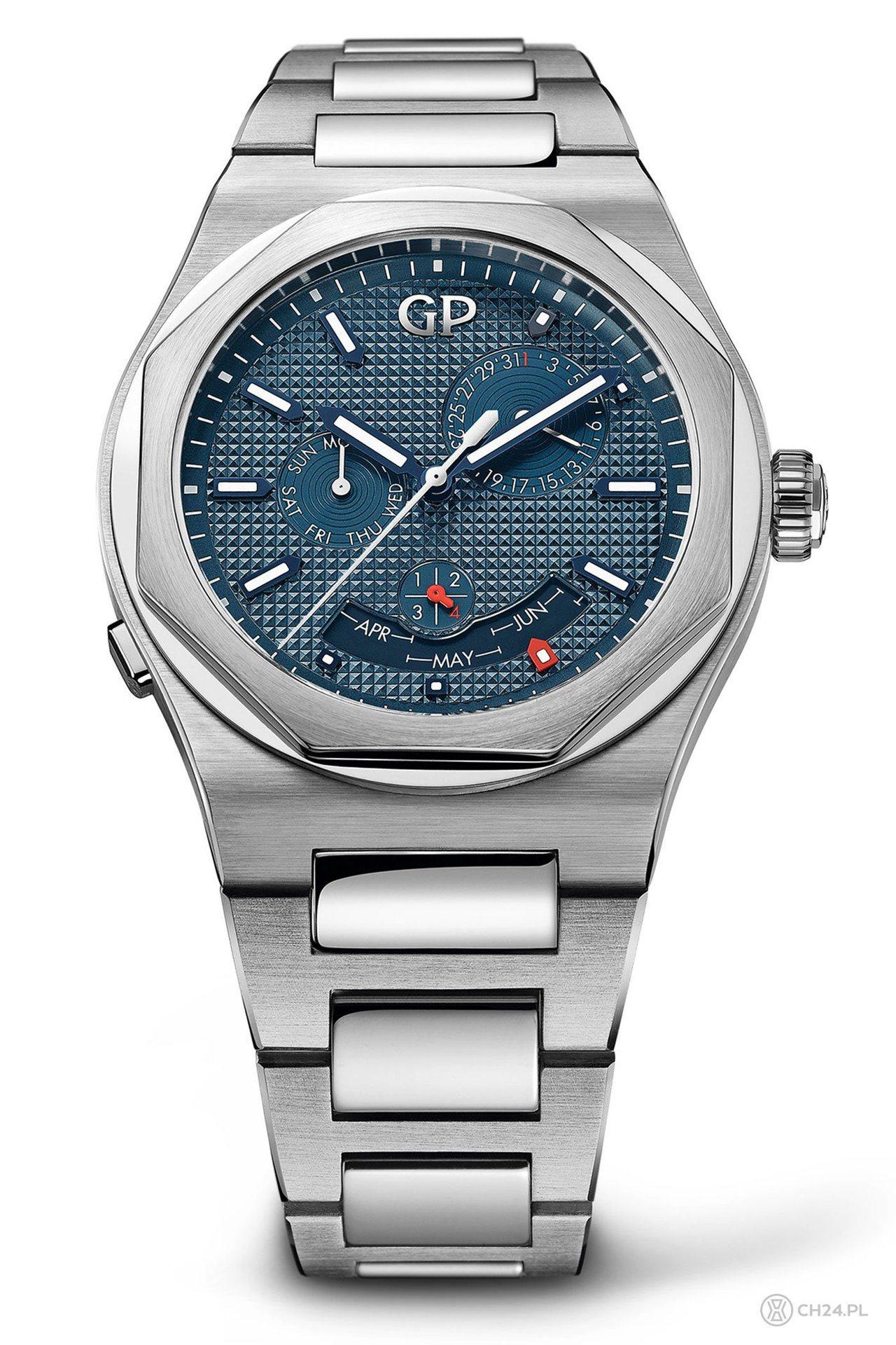 芝柏桂冠系列萬年曆腕表,不鏽鋼表殼、表鍊,價格未定。圖/Girard-Perre...