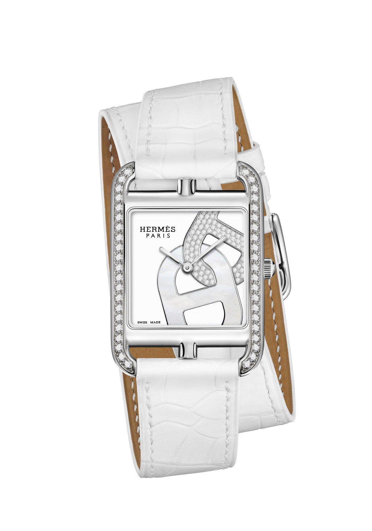 愛馬仕Cape Cod系列Chaîne d'ancre珠寶腕表,白色漆面及珍珠母...