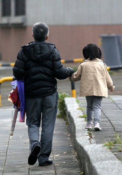 內政部估整年新生兒僅18.5萬人,再往下探底。一位爸爸牽著女兒走在台北街頭。記者...
