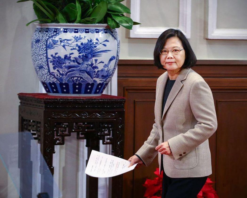 蔡總統呼籲,兩岸應坐下來談「四個必須」。 記者陳柏亨/攝影