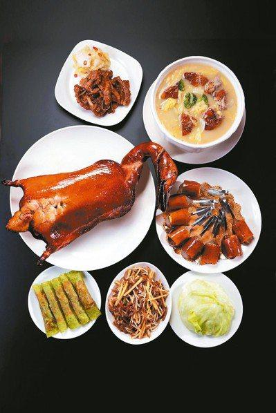 櫻桃霸王鴨五吃可搭配其他經典佳餚慶團圓。 蘭城晶英酒店/提供