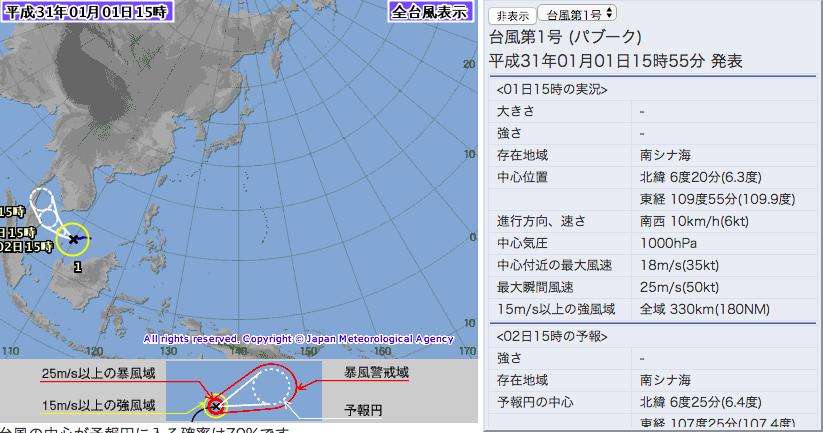 今年第一號颱風「帕布」生成。圖/取自日本氣象廳