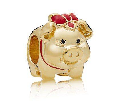 PANDORA Shine 小豬撲滿鍍18K金串飾,2,980元。圖/PANDO...