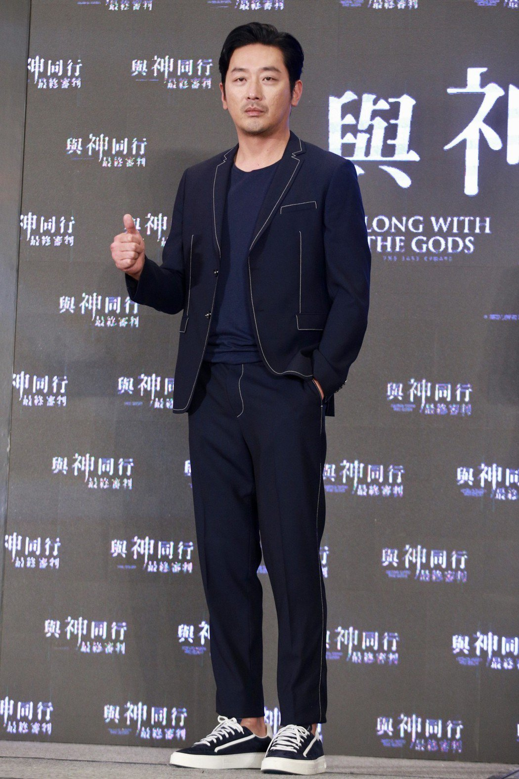 南韓電影「與神同行」,片中飾演陰間使者的韓星河正宇。圖/報系資料照片