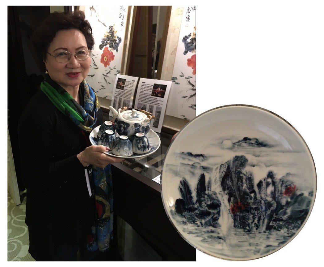 中華國際女書畫家協會理事長楊靜江推出「青花瓷壺系列」獲好評。中華國際女書畫家協會...
