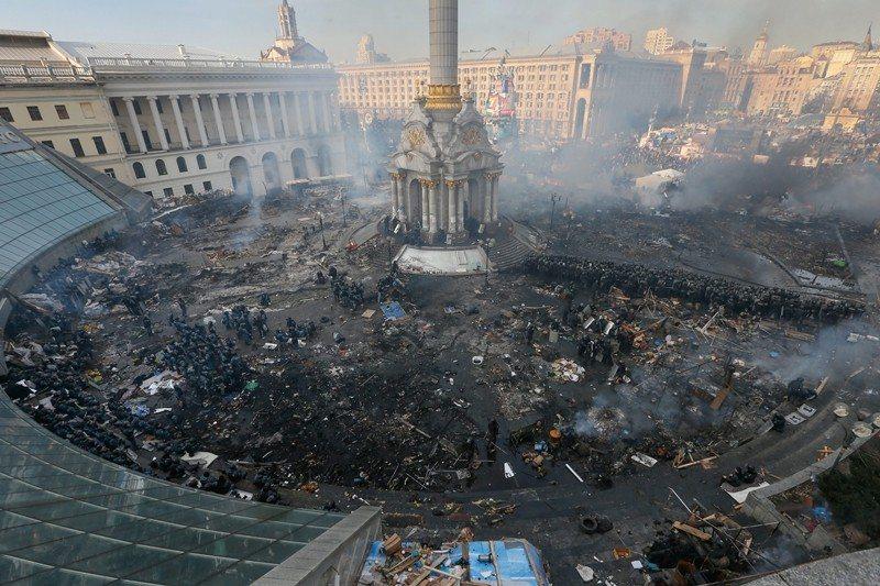 圖為廣場革命一周年,攝於2014年11月,烏克蘭首都基輔的獨立廣場。 圖/歐新社