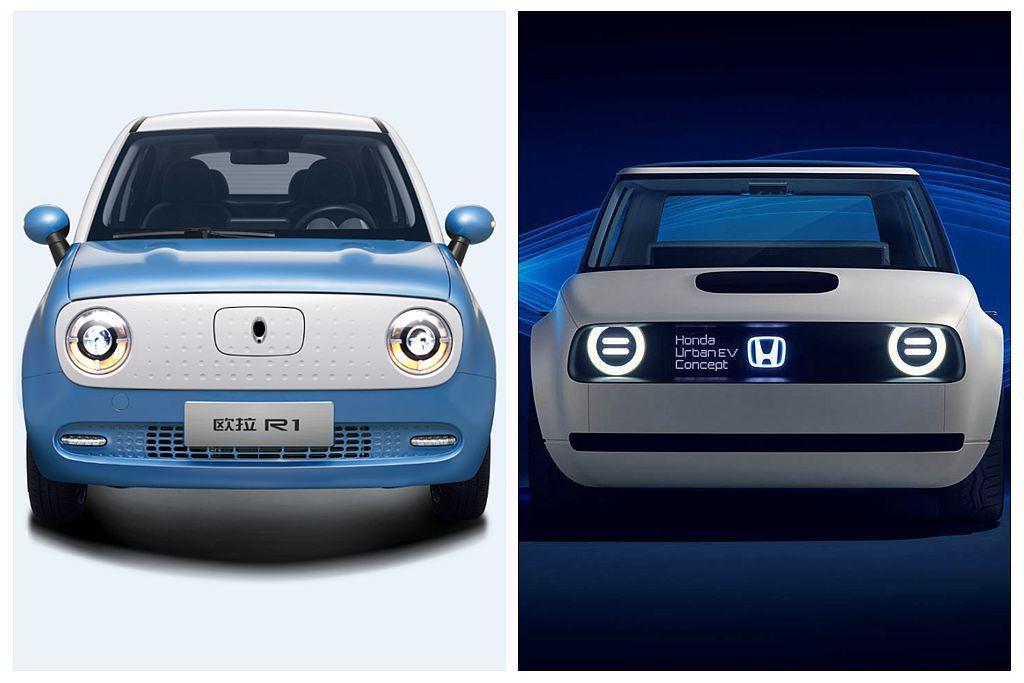 日前在中國開賣的歐拉R1電動車,外觀與Honda Urban EV Concep...