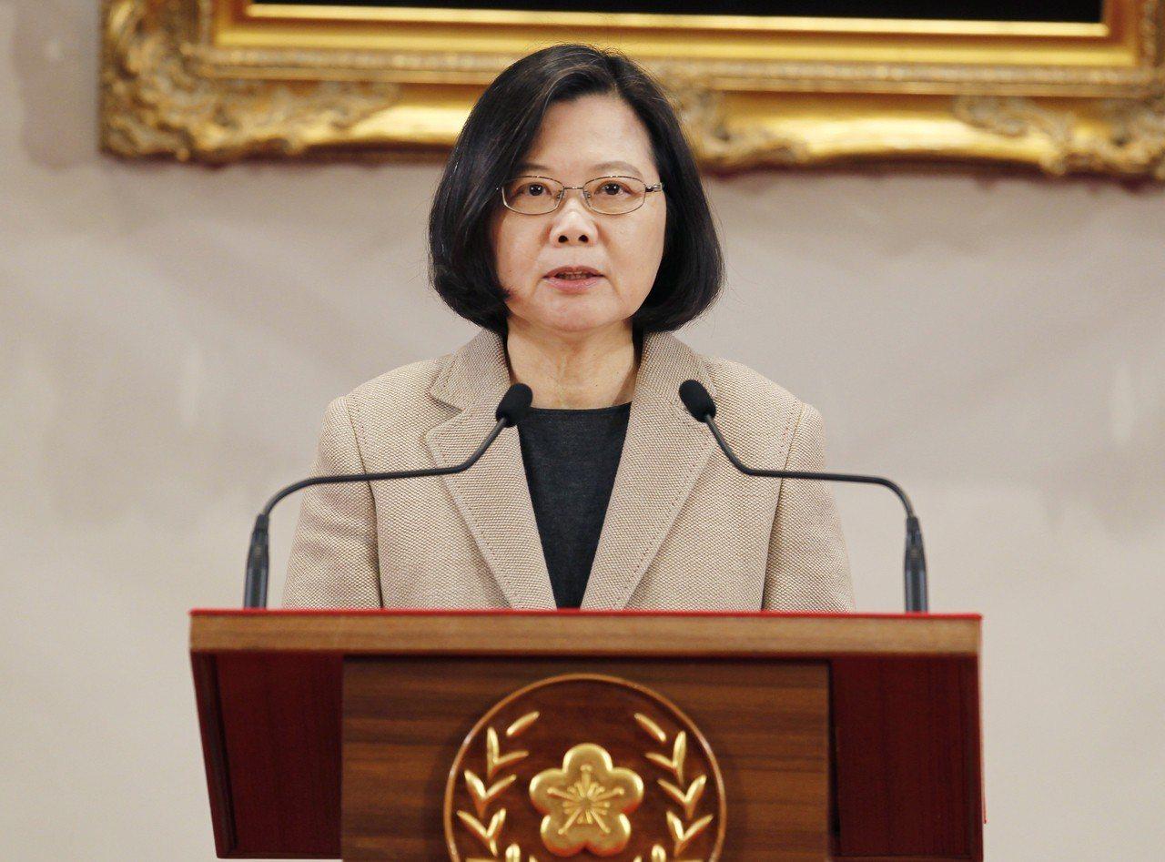 蔡英文總統1日發表新年談話,針對兩岸關係,促中共尊重台灣2300萬人民對自由民主...