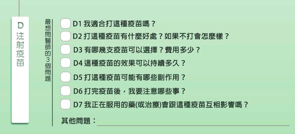 民眾若是為注射疫苗就醫,「就醫提問單」提供條列式的提問,勾選出最想問醫師的三個問...