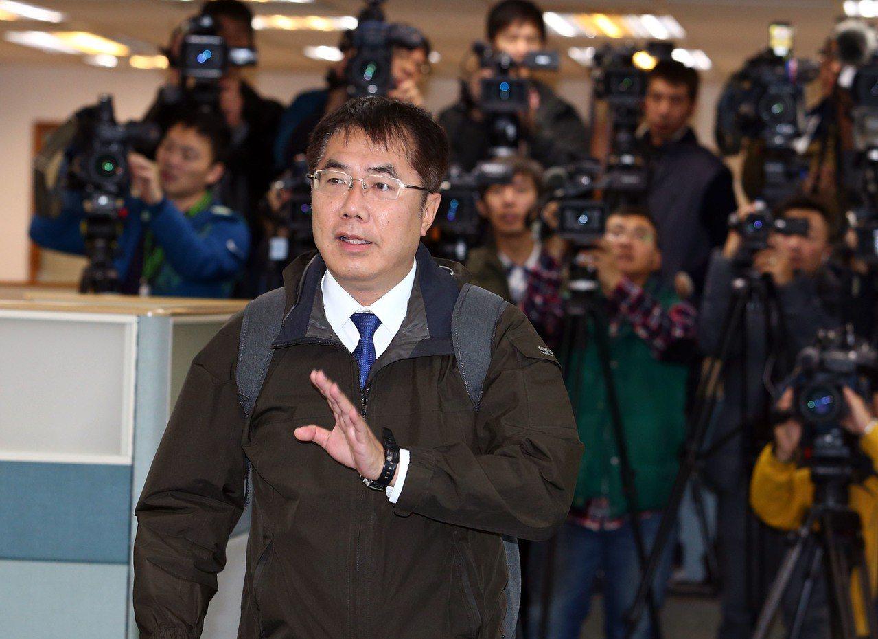 台南市長黃偉哲今天出席民進黨中執會。記者杜建重/攝影