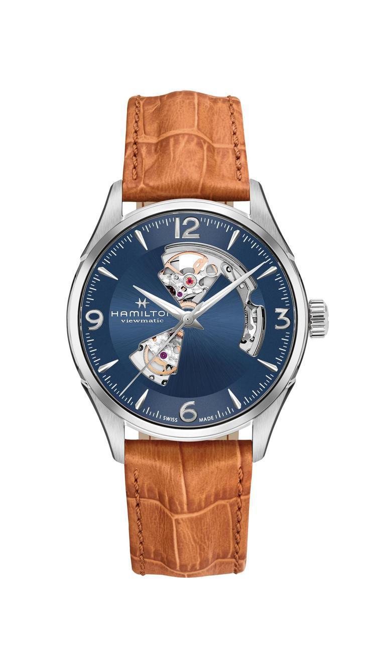 漢米爾頓爵士大師動芯Open Heart系列腕表,不鏽鋼表殼搭藍色漆面鏤空表盤、...