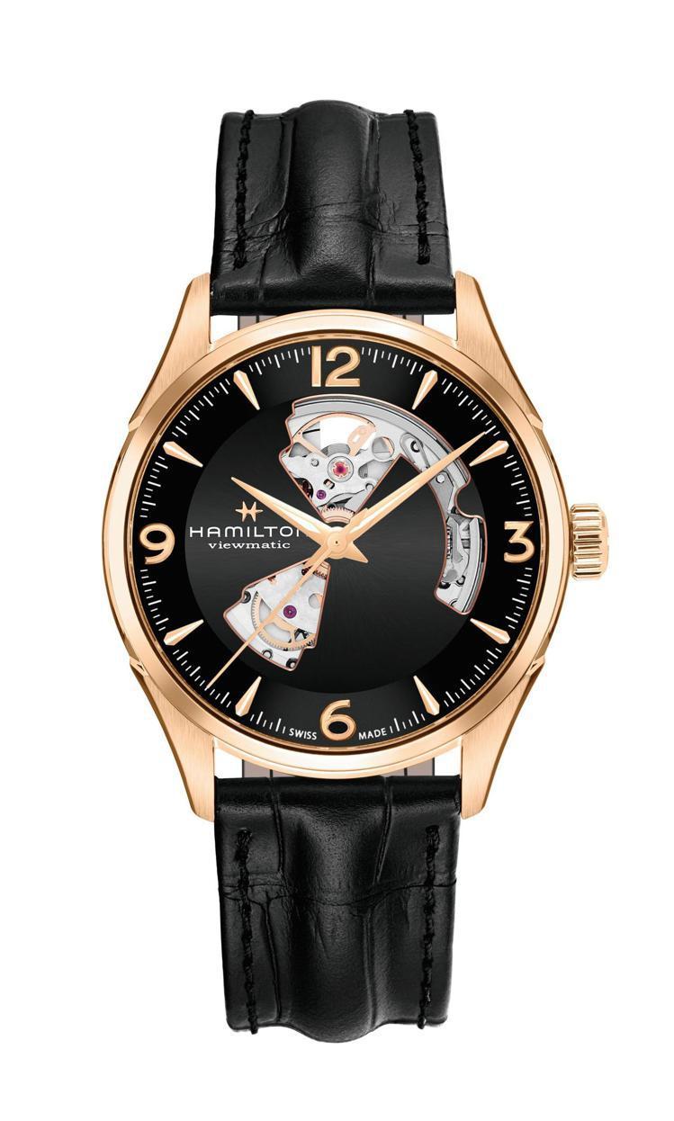 漢米爾頓爵士大師動芯Open Heart系列腕表,玫瑰金PVD不鏽鋼表殼搭配黑色...