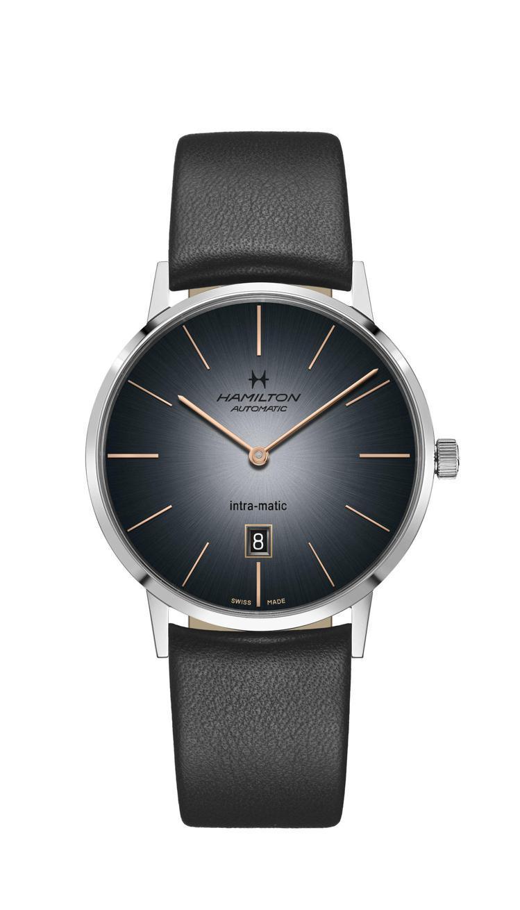 漢米爾頓美國經典Intra-Matic超薄煙燻系列腕表,不鏽鋼表殼,搭配小牛皮表...