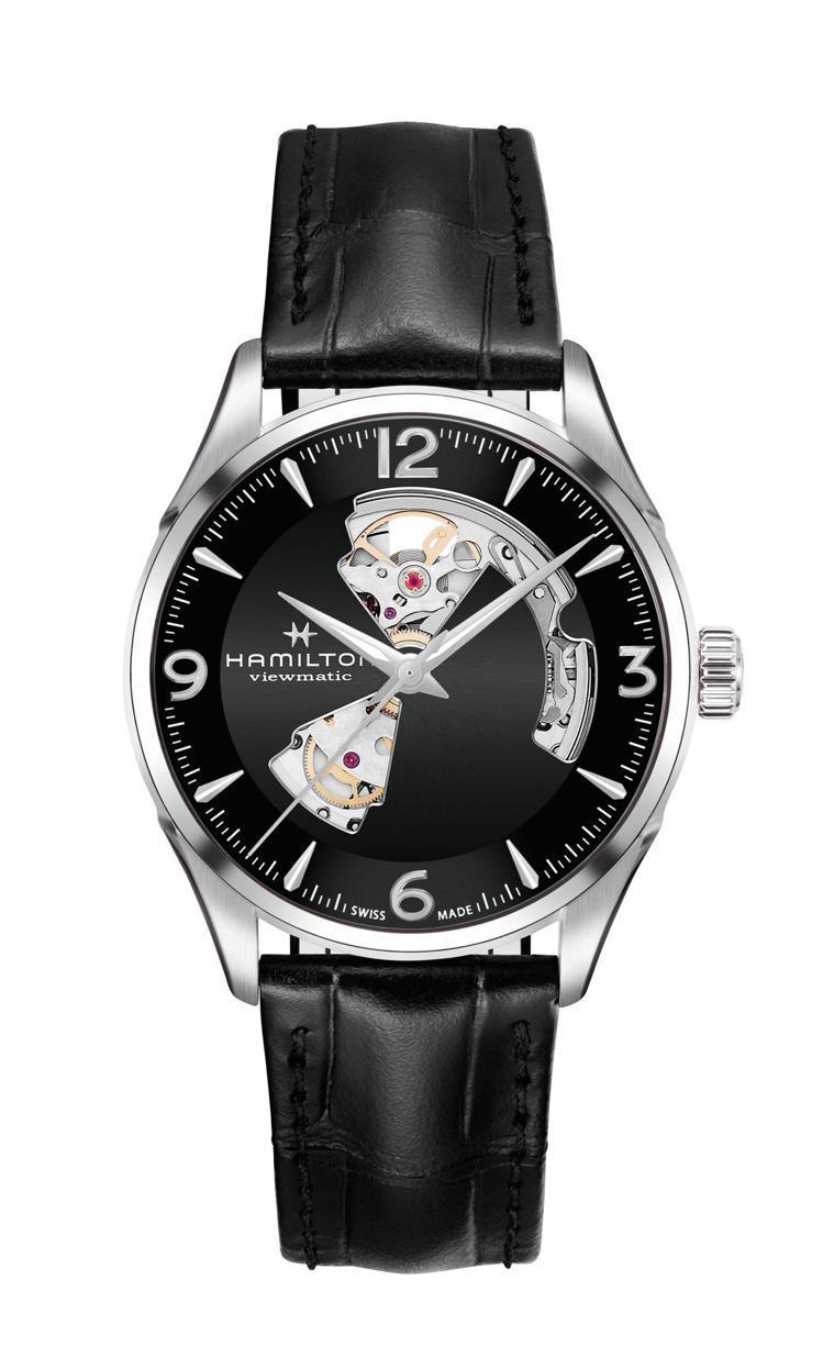 漢米爾頓爵士大師動芯Open Heart系列腕表,不鏽鋼表殼搭配黑色漆面鏤空表盤...