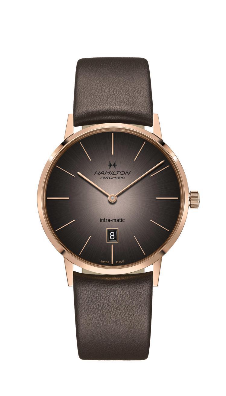 漢米爾頓美國經典Intra-Matic超薄煙燻系列腕表,玫瑰金PVD不鏽鋼表殼,...
