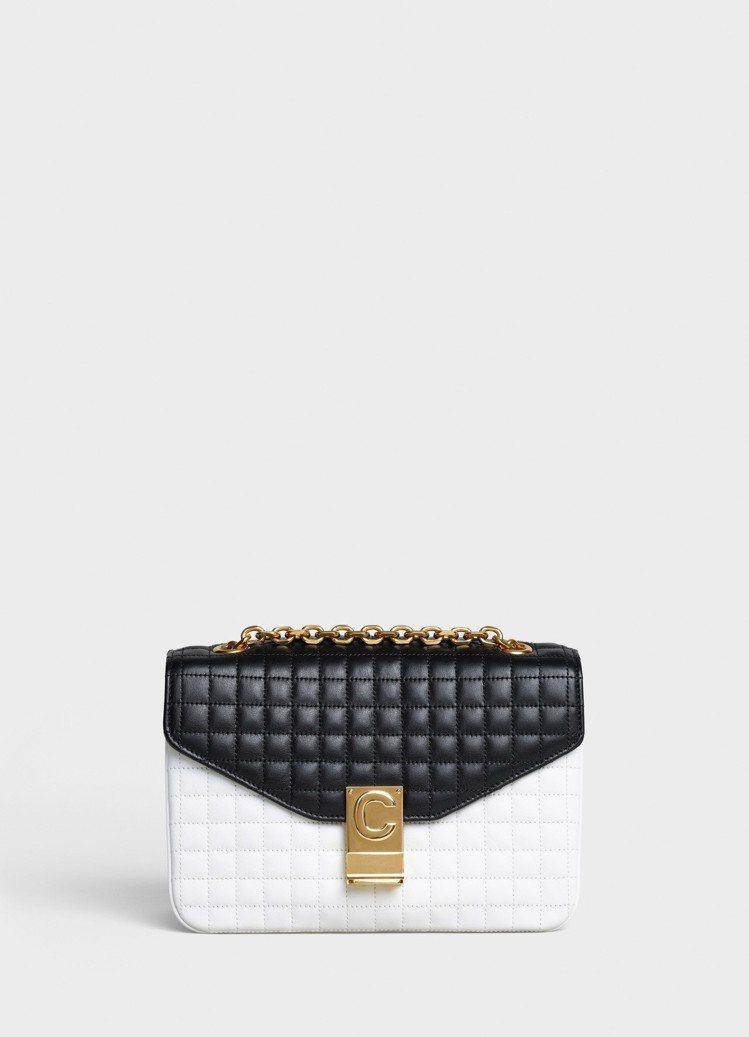 白黑拼色格紋襯芯小牛皮中型C Bag,售價99,000元。圖/CELINE BY...