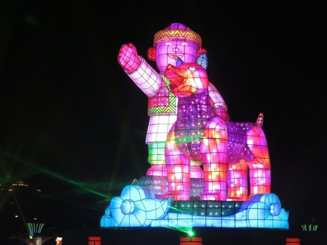 2018年台灣燈會主燈主燈「忠義天成」。圖/聯合報系資料照片