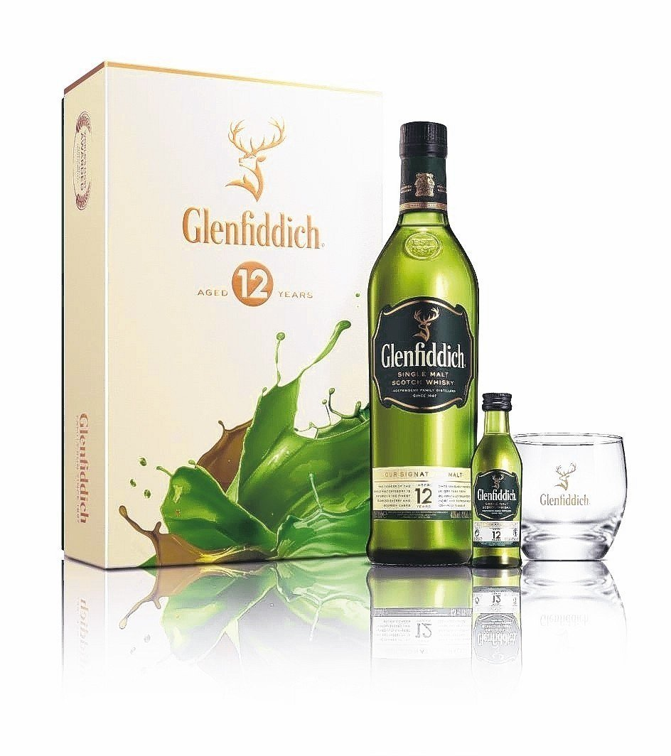 Glenfiddich格蘭菲迪12年單一麥芽威士忌禮盒。 格蘭父子/提供