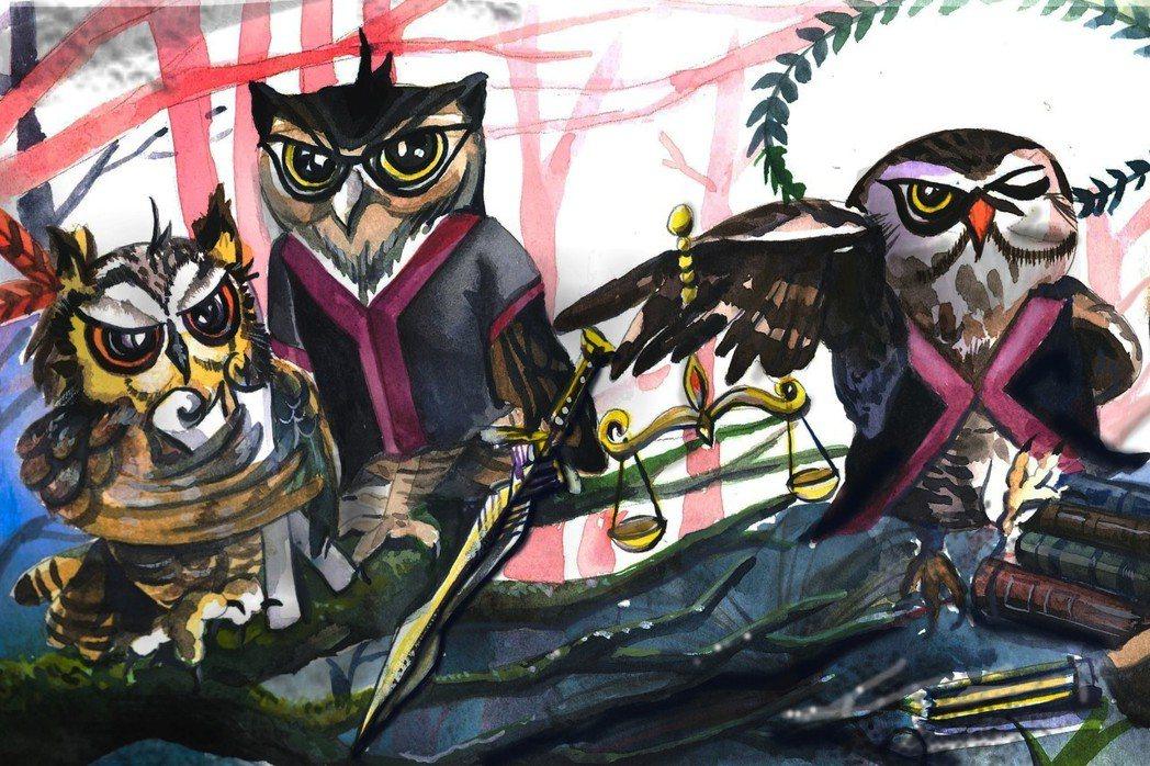 臉書粉專法律快易通:檢仔聊天室以貓頭鷹作為視覺意象,取貓頭鷹日語讀音諧音近似「不...