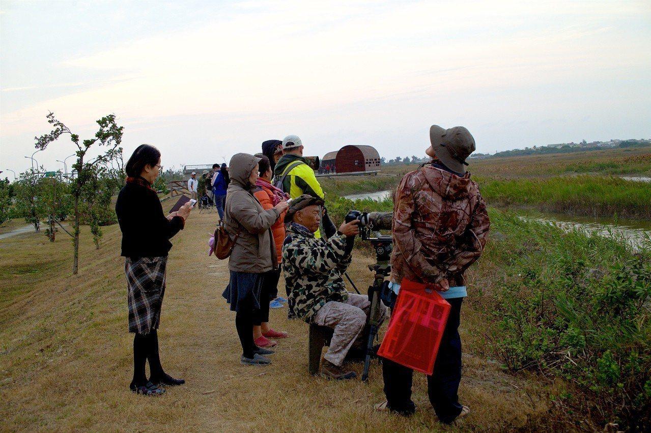 「黑琵先生」王徵吉(坐者)每天都到濕地觀察鳥類生態,推薦大家來賞鳥正是好時機。圖...