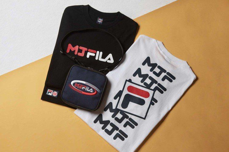 MJFRESH與Fila聯名系列短袖T恤1,280元、配件包款1,080元。圖/...