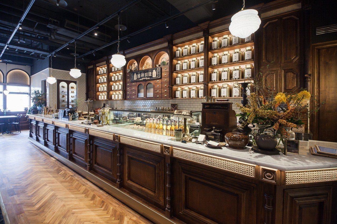 新光南西店的復古吧台。圖/永心鳳茶提供