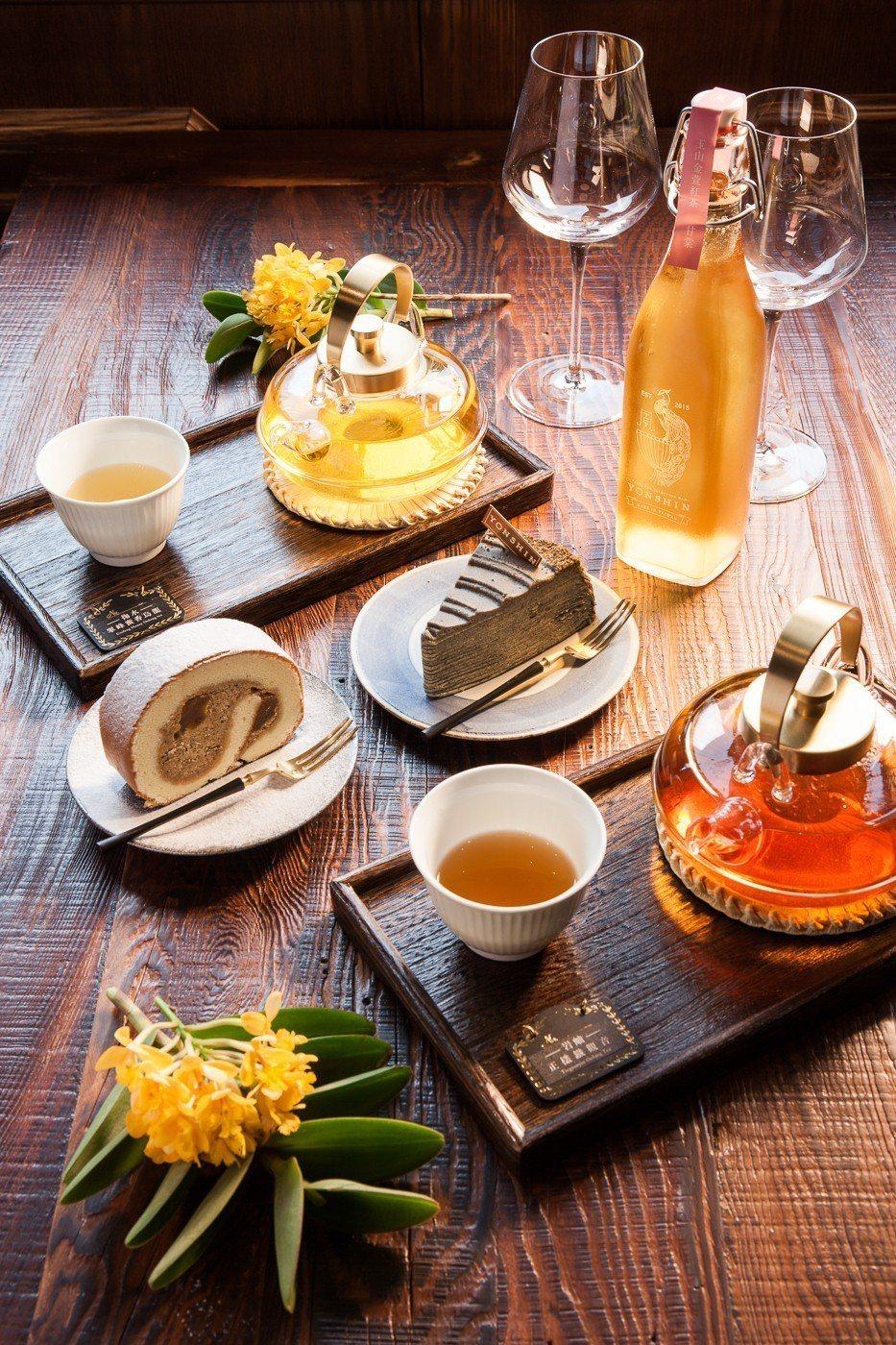 新光南西店限定甜點與茶品。圖/永心鳳茶提供
