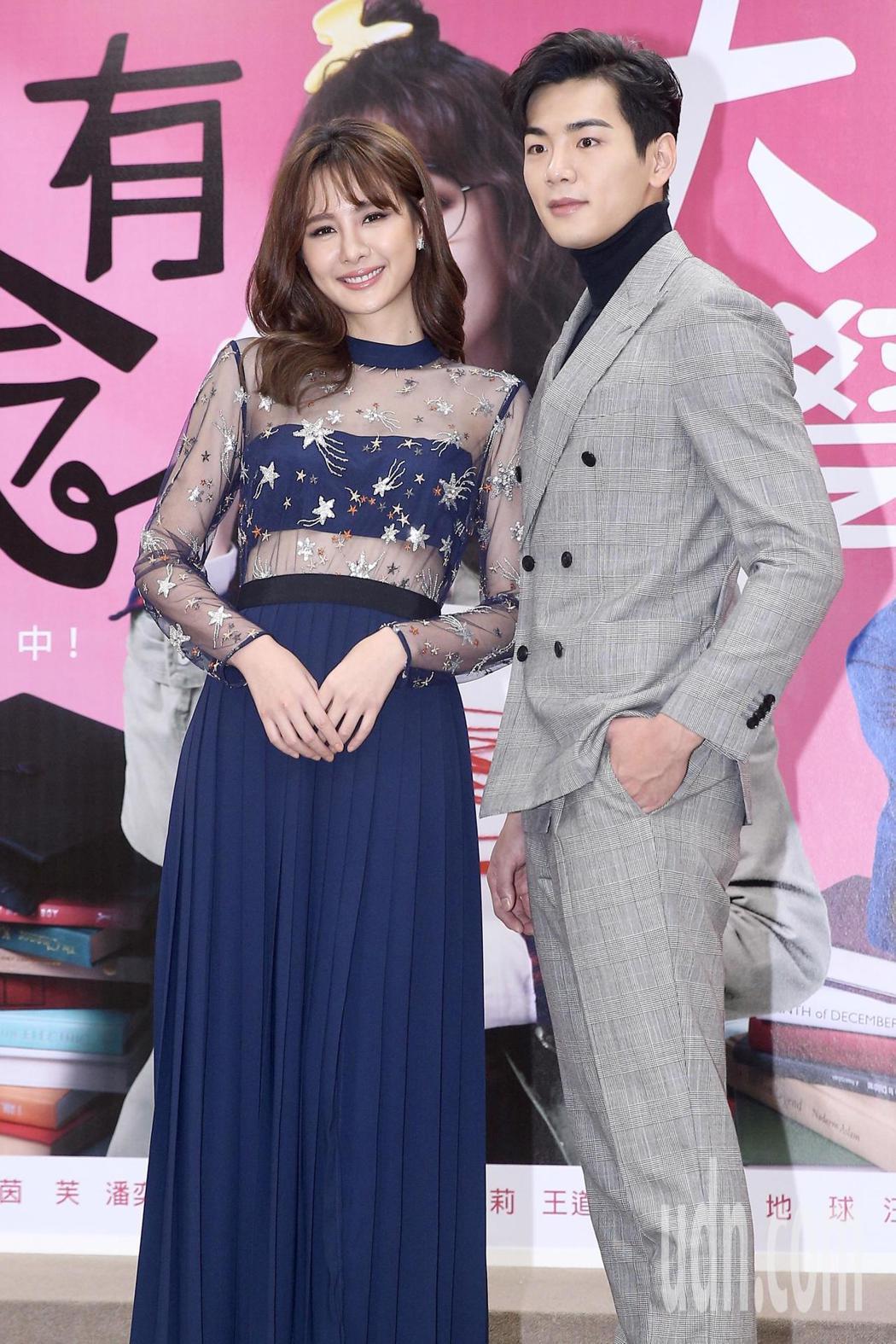 台視週日偶像劇《你有念大學嗎?》下午舉行首映會,劇中男女主角安心亞(左)與禾浩辰...
