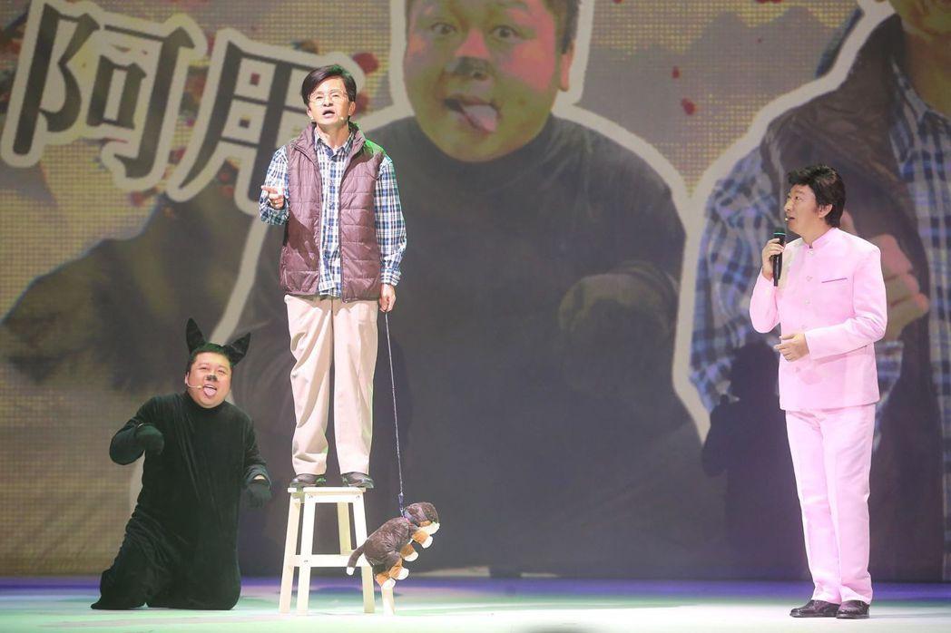 唐從聖(中)演阿扁,和演寵物狗的納豆(左)及演費玉氫的九孔,有一段對手戲。記者徐...