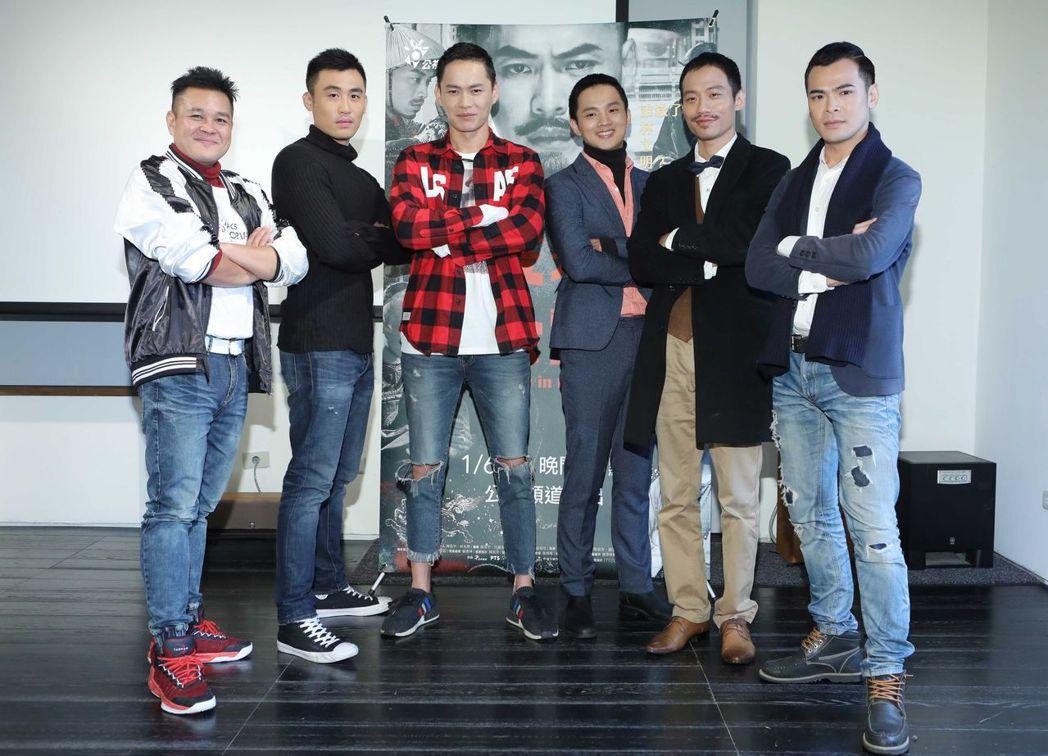 范宏恩(左起)、張洋、黃鐙輝、李晏駒、張哲豪、蘇達出席「疑霧公堂」宣傳記者會。圖...
