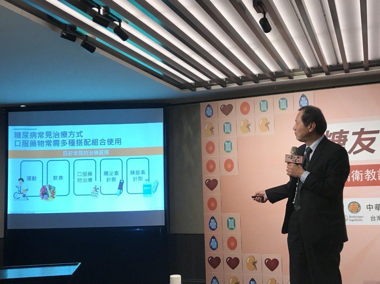 中華民國糖尿病學會理事長許惠恒,建議糖尿病友可與醫師討論是否適用複方型藥物,重視...