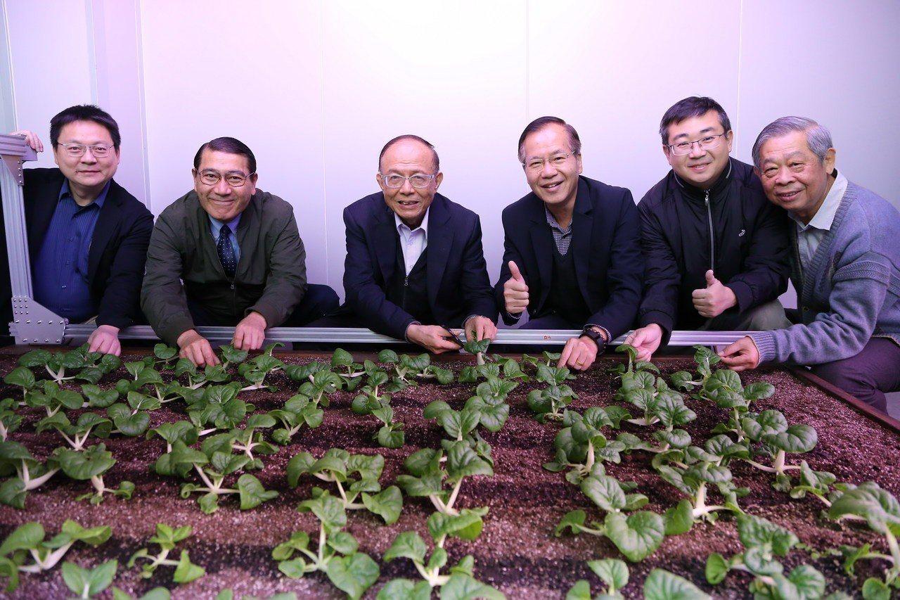 校長林聰明(左三)及與會主管體驗智能環控植物工場採收蔬菜。圖/南華大學提供