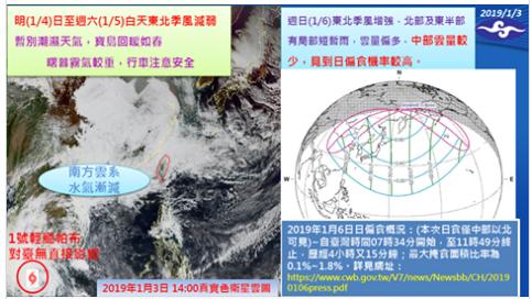 氣象局指出,明天全台回暖如春,中南部上看29度。圖╱氣象局提供