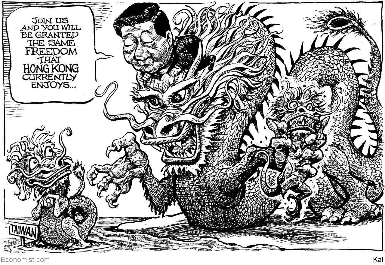 英國雜誌《經濟學人》用一張圖諷刺中國大陸的野心。圖片來源/經濟學人官方臉書