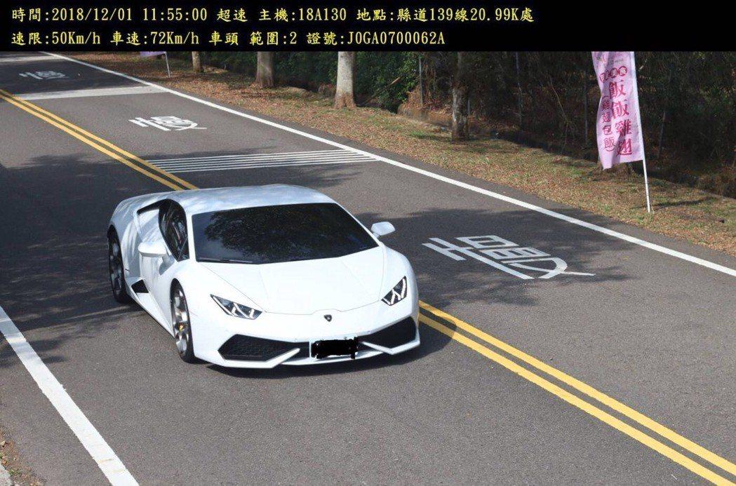 彰化警方在縣道139線21k處設置的固定桿測速器,也捕獲不少超跑超速的蹤影。照片...