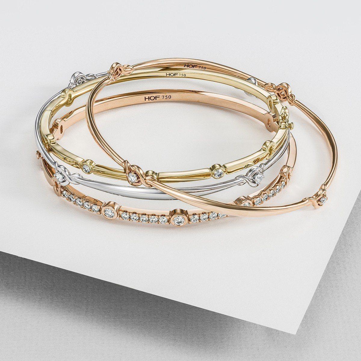 Optima手環,玫瑰金鑲嵌鑽石,79,000元起。圖/HEARTS ON FI...