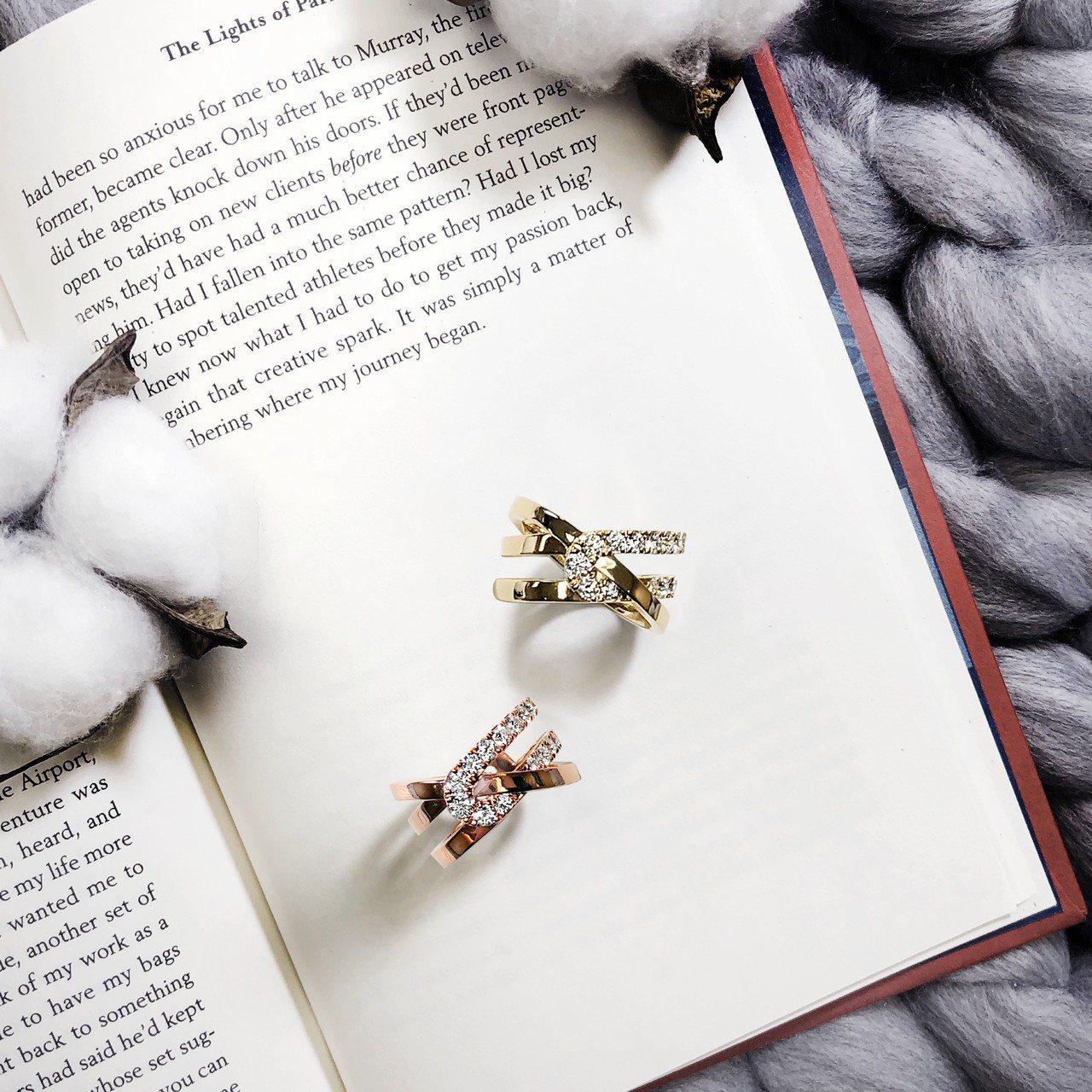 Optima系列戒指,黃K金或玫瑰金鑲嵌鑽石,15萬8,000元起。圖/HEAR...