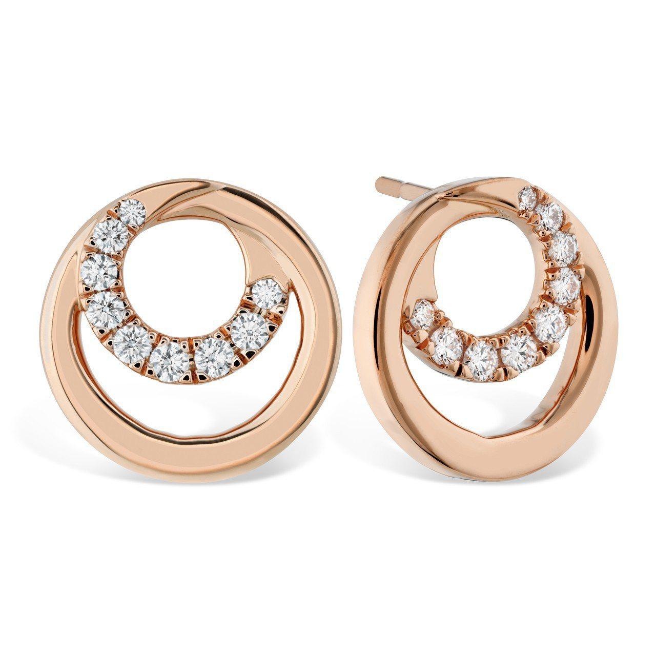 Optima 系列耳環,玫瑰金鑲嵌鑽石0.36克拉,62,000元。圖/HEAR...