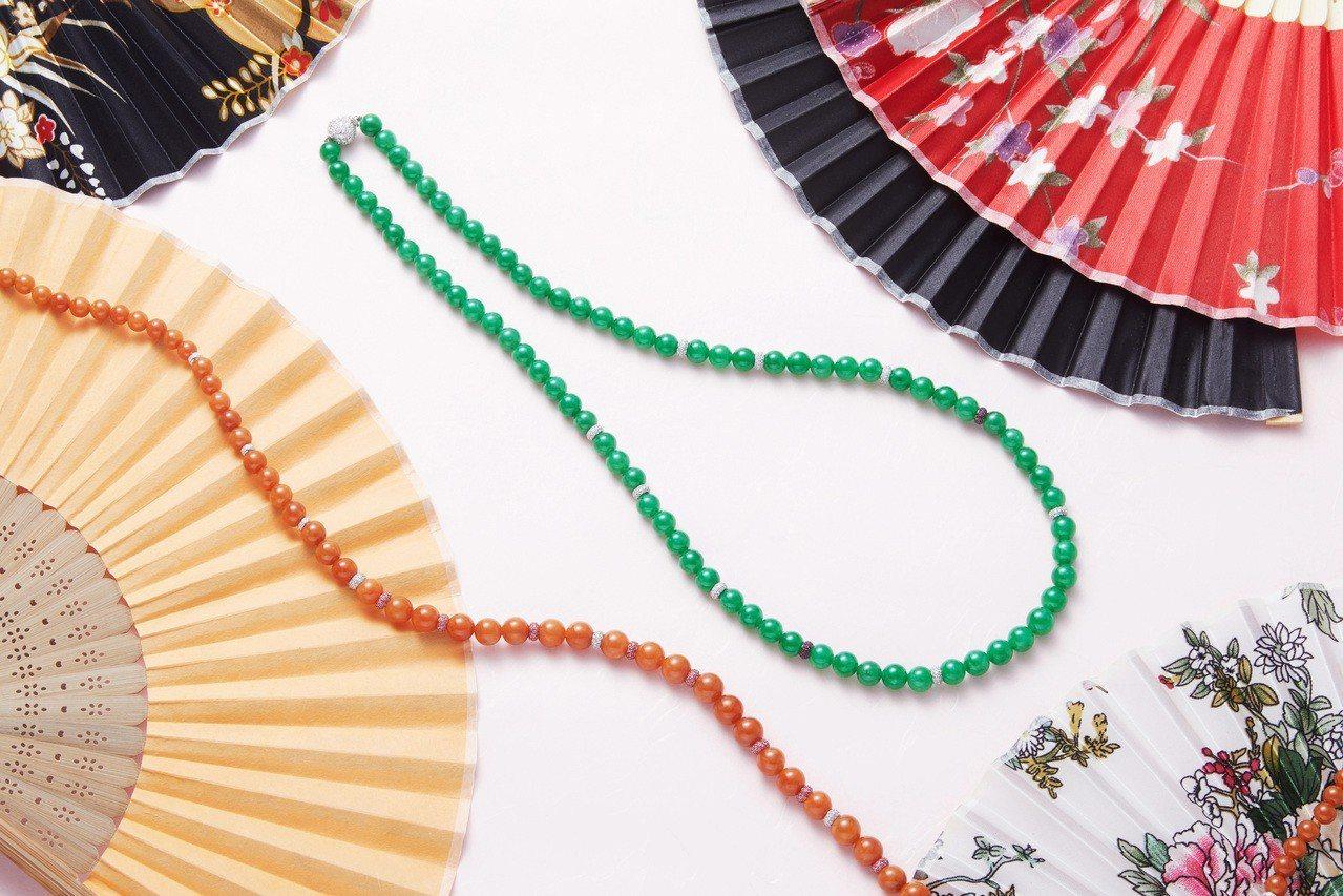 JADEGIA玉世家2019新年推薦珠圓玉潤系列翡翠珠鍊與珠串。圖/玉世家提供