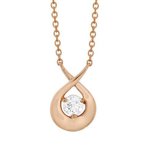 Optima 項鍊,玫瑰金鑲嵌鑽石總重0.2克拉,59,000元。圖/HEART...