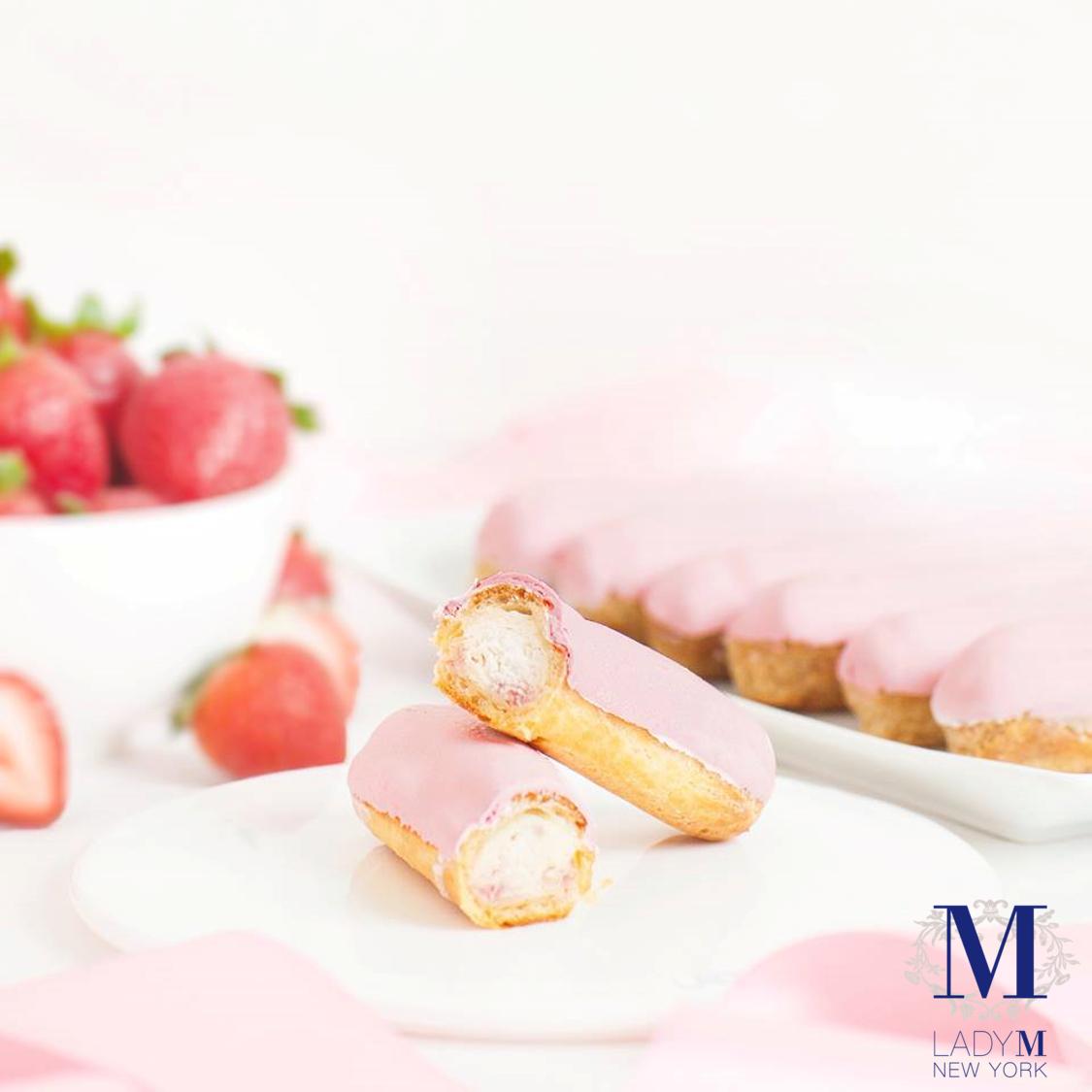「草莓閃電泡芙 」售價220元(2條/組)。圖/Lady M提供