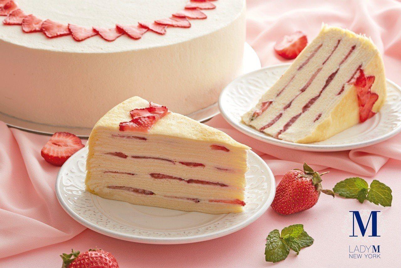 「草莓千層蛋糕」,單片售價280元,9吋2,800元。圖/Lady M提供